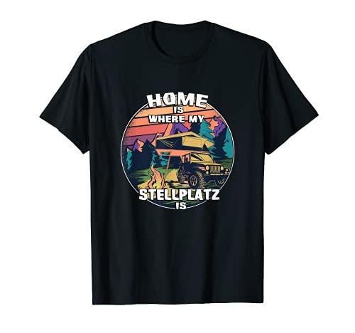 "Tienda de campaña para camping con texto en inglés ""Home is where my Stellplatz is"" Camiseta"