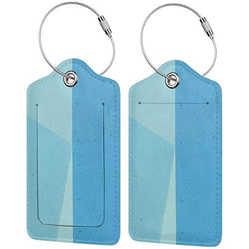 FULIYA Juego de 2 etiquetas de equipaje seguras de alta gama de cuero para maletas, tarjetas de visita o bolsa de identificación de viaje, superficie, fragmentos, diseño, facetas
