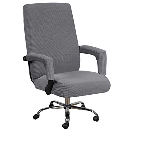 XYBB Elastic Büro Aufzug Computer-Stuhl-Abdeckung Moderne Anti-Dirty Boss Rotating Chair Sitzgehäuse Mit Ausziehbaren Verdickte Mit Armlehne Abdeckungen (Color : Gray, Size : L with Armrest Cover)
