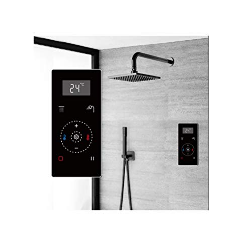 Read About Fontana Dark Oil Rubbed Bronze Square Automatic Thermostatic Shower With Black Digital To...
