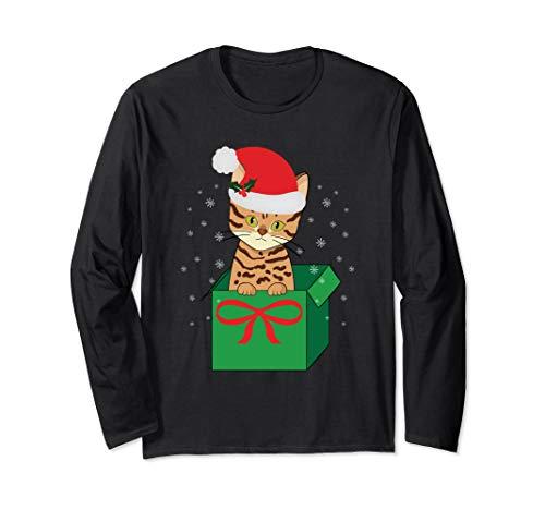 Christmas Bengal Cat Gift with Santa Hat Long Sleeve T-Shirt