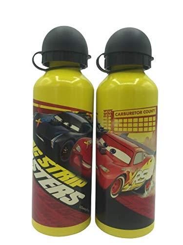 ML Una bottiglia d'acqua in alluminio di Cars borraccia termica a prova di fumo, senza BPA, per scuole e sport, 500 ml, per bambini e bambine (giallo)