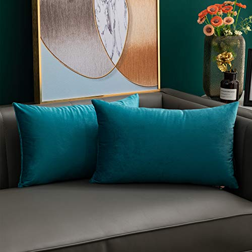 softpoint Velvet Cushion Covers Teal 30cm x 50cm Soft Decorative Throw Pillowcases 12 x 20inch for Couch, Bed, Sofa, Pack of 2(teal, 12x20)…