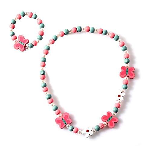 Arichtops Enfants Cartoon Collier Bijoux colorés Kid Animaux Perles Florales Accessoires de Mode Bracelet