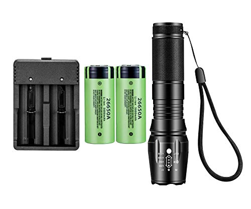 8000 Lumens LED Flashlight,With 2PCS Rechargeable 26650 Battery And Batteries Charger,5 Light Modes and Waterproof for Emergency, Camping, Hiking