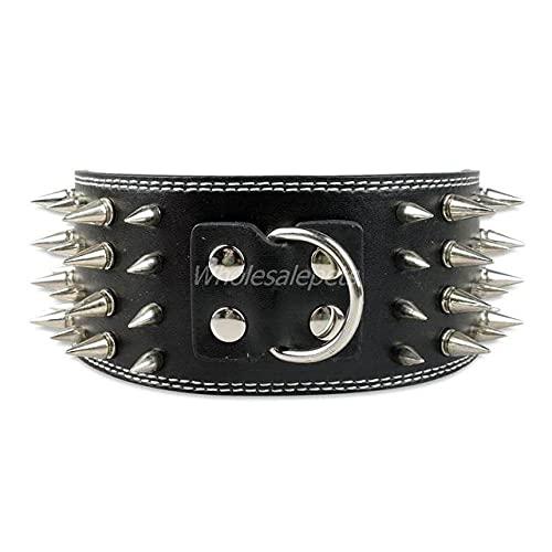Collar para Perro de Cuero con Tachuelas de 3 Pulgadas de Ancho para Perros de Razas Grandes, tamaños ML XL, Negro, M