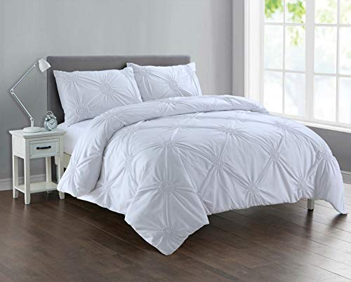 Divine Textiles Pintuck Sunflower Style Fancy Duvet Cover Set With Pillow Cases 10 Colours, White - Double
