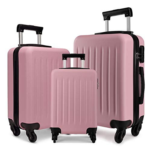 "Kono Luggage Sets 3pcs Hard Shell Suitcases with 4 Spinner Wheels Light Weight ABS Travel Trolley Case 19"" 24"" 28"" (3 Pcs Set, Pink)"