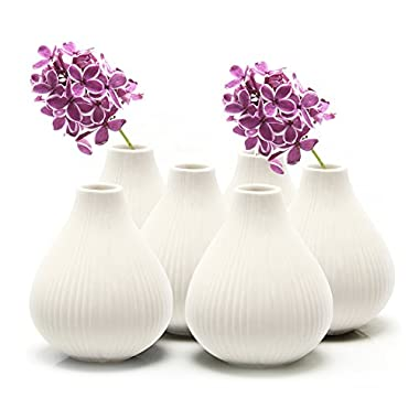 Chive - Set of 6 Frost, 3  Wide 3.5  Tall Round Clay Pottery Flower Vase, Decorative Vase for Home Decor Living Room Office and Place Settings - Bulk (White)