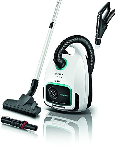 Bosch Staubsauger mit Beutel ProHygienic Serie 6 BGL6LHYG, Bodenstaubsauger, ideal für Allergiker, Hygiene-Filter, für Parkett, Teppich, Fliesen, langes Kabel, Mehrzweckbürste, 600 W, weiß