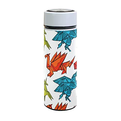 Ahomy Vakuum-isolierte, auslaufsichere Trinkflasche, Origami-Dracheneinhorn-Herz, Edelstahl-Thermobecher, 500 ml
