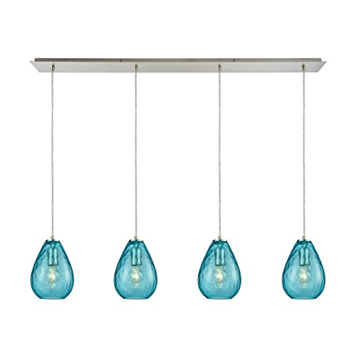 "StarSun Depot Lagoon 4-Light Linear Pendant Fixture in Satin Nickel with Aqua Water Glass, 46"" W x 46"" De x 9"" H, Silver"