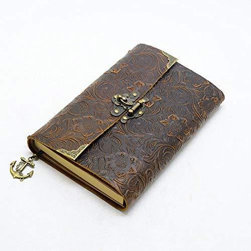 ScrodCat – Cuaderno de escritura de piel de cornal, cuaderno de notas para hombre y mujer, papel en blanco, tamaño mediano, 19 x 14 cm, regalo perfecto, diario de viaje y libro de bloqueo (marrón)
