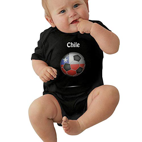 Lplpol Ne025 - Mono de manga corta para bebé, diseño de bandera de Chile - negro - 12 -18 meses
