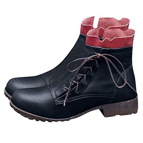 WHSHINE Vintage Country-Stiefel für Damen - Runde, geblümte Ankle Boots mit seitlichem Kragen und Schnürung