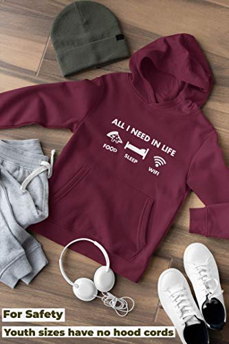 All I Need in Life - Pizza Sleep WiFi - Unisex Hoodie - Funny Millenial Teenager - Age 12/13 Blue