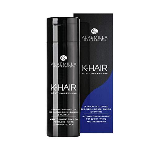 ALKEMILLA - Shampooing Anti Jaune - Idéal pour les cheveux blonds, blancs et traités - Contre le jaunissement des cheveux - Certifié LAV, QC, Qualité Vegan - Testé au nickel - 250 ml