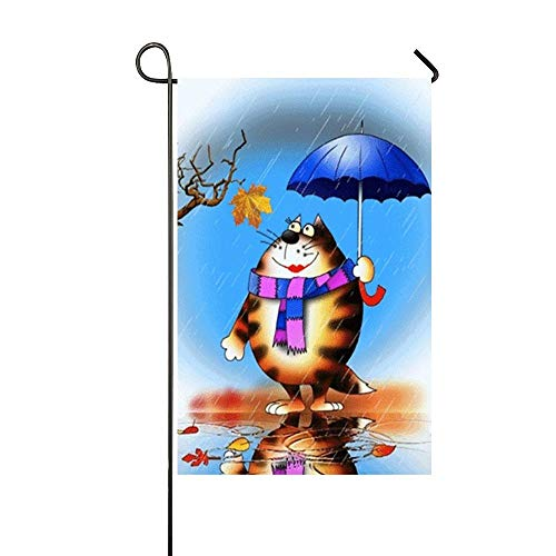 Happy Week Fat Cat Hold An Umbrella Water Reflection Raining Day Garden Flag Holiday Decoration Double Sided Flag 18 x 27 Inches