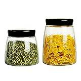 LTCTL Recipientes De Vidrio para Almacenamiento De Alimentos con Tapas Herméticas Esmeriladas Recipientes De Cocina Transparentes (Color : 900ml+1300ml)