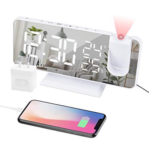 EVILTO Réveil à Projection 180° Plafond - Horloge Numérique Electrique Fonction Snooze, 12/24H, Volume Réglable Réveil Moderne Luxe pour Maison avec Plug EU-Blanc