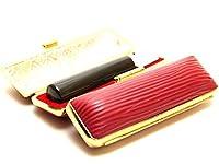 「天然黒水牛印鑑10.5mm×60mmクッキーレッドケース付き」 横彫り 古印体
