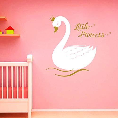 Kleine Prinzessin Golden Crown Wandtattoo Schwan K?nigin Vinyl Aufkleber Baby M?dchen Magie M?rchen Kindergarten Kinderzimmer Home Dcor Murals S205