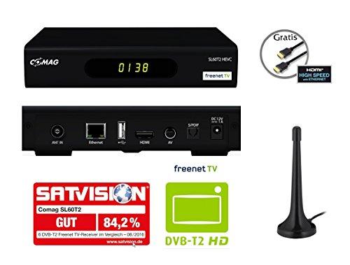 COMAG SL60T2 FullHD HEVC DVBT/T2 Receiver (H.265, HDTV, HDMI, Irdeto Zugangssystem, freenet TV, Mediaplayer, PVR Ready, USB 2.0, 12V) inkl. DVB-T2 Antenne + HDMI-Kabel, schwarz