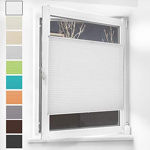 HOMEDEMO Plissee Klemmfix Rollos für Fenster ohne Bohren Jalousien (Weiß, 35x100cm) Plisseerollo Fensterrollo, Faltrollo Klemmrollo Sicht-und Sonnenschutz