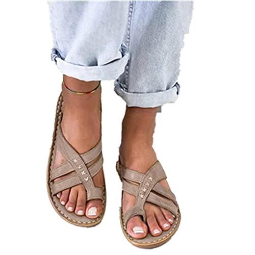 Wxyfl Corrector de Juanetes Ortopédico para Mujeres Chanclas de Playa de Verano Tangas Sandalias Planas Zapatos para Caminar en La Playa con Punta de Clip Zapatos Casuales para Exteriores,Gris,40