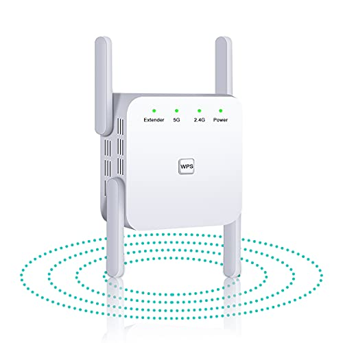 WiFi Range Extender, 1200Mbps WiFi Repeater Wireless Signal Booster, 2.4G & 5G High Speed Internet Amplifier with LAN/WAN Port 360° Full Wi-Fi Coverage, Support AP/Repeater/Wired Mode (White)