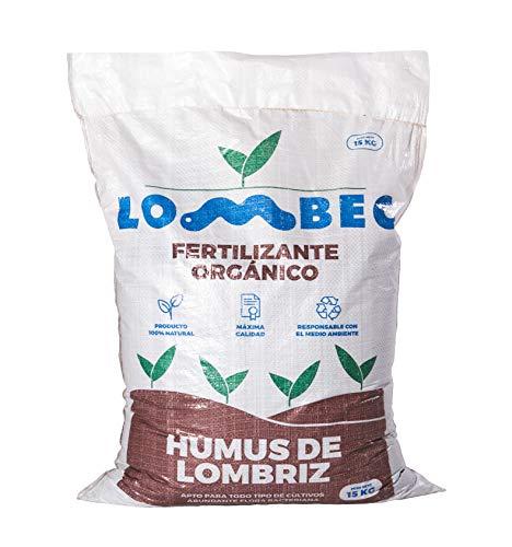 LOMBEC Humus de Lombriz, Saco 15Kg (25L). Fertilizante orgánico, vermicompost 100% Natural....