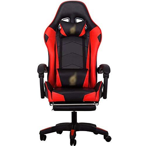 KANJJ-YU Silla de E-Sports PU Cuero reclinable girada por un reposapiés Ajustable for la Zona de la Oficina for el Juego de Trabajo (Color: Color de Imagen, tamaño: 70X70X125CM) Oficina