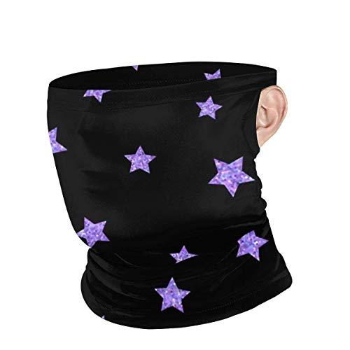 BDGAjdka Ultraviolet Purple Stars Face Shield Bandana for Men Women Face Scarf Cover with Ear Loop