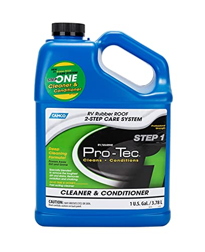Camco Pro-Tec Rubber Roof Cleaner - Deep Cleansing Formula Rids Dirt and Grime and Helps to Extend The Life of Your RV's Roof 1 Gallon (41068)