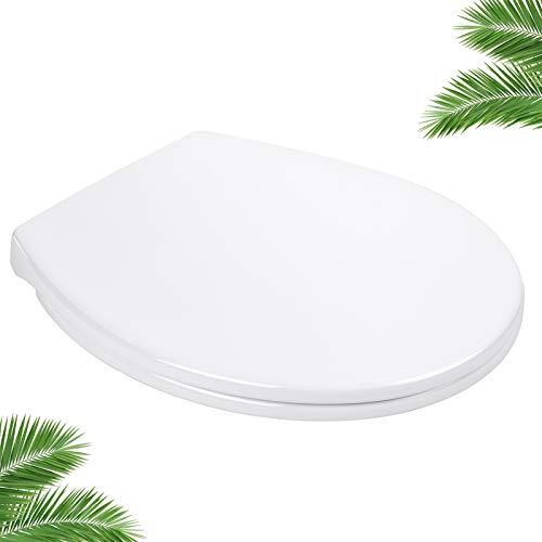 Tapa de WC, DBTS07BJ Aisento de Inodoro Antideslizantes en Forma de O, Tapa WC Blanco con Caída Lenta y Silenciosa, Tapa para Inodoro con Instalación y Desmontaje Fácil