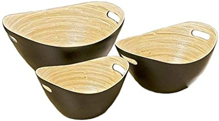 Preisvergleich für Home Collection Bambus Schalen Natur/Schwarz Salatschalen 3er Set sort. L25-35cm