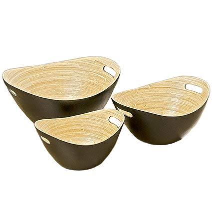 Lot de 3 plateaux en bois deco bols en bambou 25–35 cm Décoration de maison