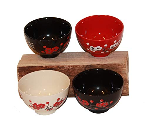 AAF Nommel®, Reisschale Guangzhou Dessert Porzellanschale Suppenschale Servierschale aus Porzellan im 4 er Set 027 schwarz rot Weiss