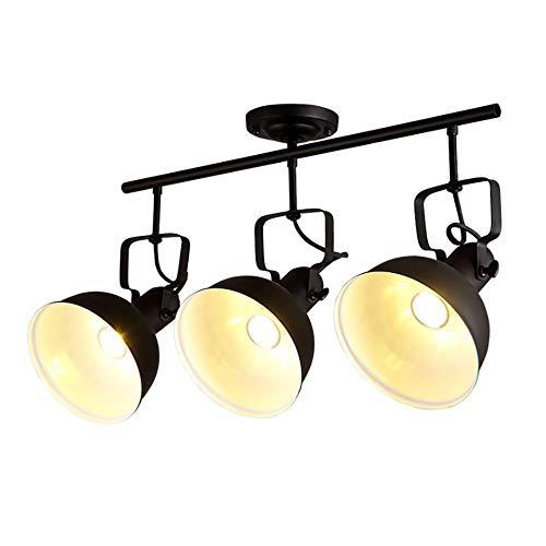 Jiafum Luces de Mesa de Billar Negras rusticas, arana de Sombrero de Metal Industrial para Sala Comedor Mesa de Billar Luces de Isla (3 Cabezas de lampara)