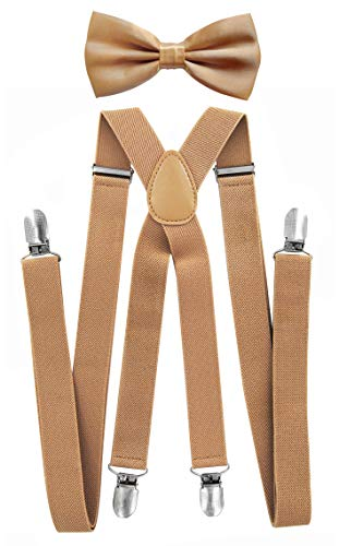axy Hochwertige Herren Hosenträger mit Fliege - 4 Starken Clips X-Form (Beige (Hosenträger Breit 2,5cm))