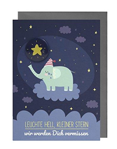 Trauerkarte Kind (Baby, Sternenkind, Fehlgeburt) mit Stern-Button + Umschlag (Motiv: Elefant)