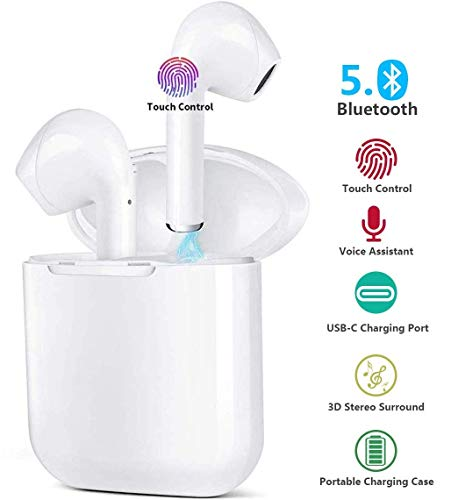 Wireless Earbuds Bluetooth 5.0 Headphones True Wireless HD Stereo Sound Earbuds, in-Ear Headset 30h Playtime with Built-in Microphone Portable Charging Case (white3)