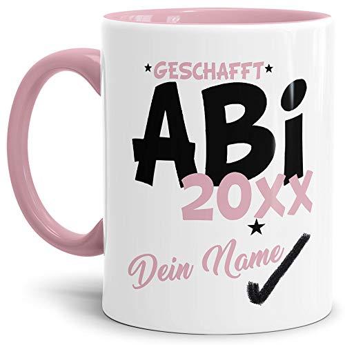 Tassendruck Abi-Tasse Geschafft Abi 20XX - Selbst gestalten mit Jahr und Name zum bestandenen Abitur/Schule/Lehrer/personalisierte Geschenk-Idee/Innen & Henkel Rosa