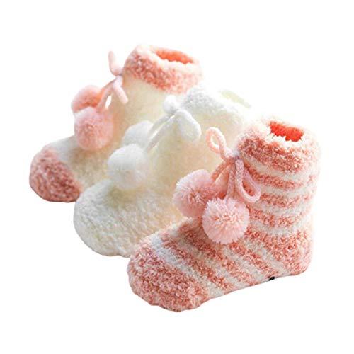 huixu 3 paires en peluche corail polaire nouveau-né bébé fille chaussettes mignon épais confort chaud sommeil plancher sommeil chaussettes Tube chaussettes
