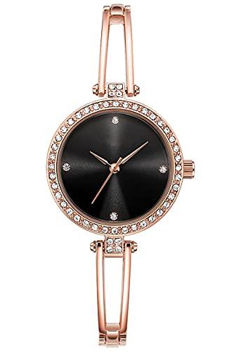 Reloj de pulsera para mujer, oro rosa, plata, cristal, elegante, ultrafino, negro, redondo, clásico, de cuarzo, de acero inoxidable, resistente al agua, Oro rosa y negro.,
