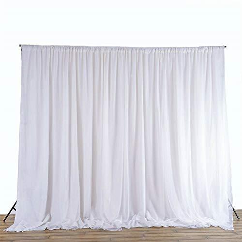 UKMASTER Foto Hintergrund Falten Vorhang Seide Hintergrund Weiß Fotografie Hintergrund für Atelier Hochzeit Party Dekoration 3 X 3M