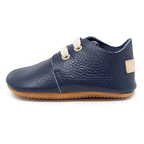Ella Bonna Oxford Baby Boy Shoes, Rubber Sole, Leather Baby Shoes, Toddler Girl Baby Walking Shoes, Newborn Infant Mini Kids Crib Baby Moccasins (Dark Blue, US 1)