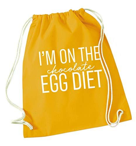 Flox Creative - Borsa con Coulisse I'm on The Chocolate Egg Diet, Senape