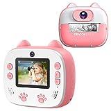 Dragon Touch Fotocamera istantanea per bambini, Fotocamera Instant Print con carta da stampa, Doppia fotocamera con adesivo per cartoni animati, Penne colorate e Borsa Giallo(Rosa)