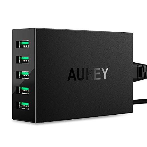 AUKEY USB Ladegerät 5 Ports USB Adapter AiPower 50W für iPhone, iPad, Nexus, HTC, Motorola, LG und weitere